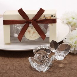 Wholesale Crystal Rose Party Favors - Wedding Door Gifts Bridal Shower Favors Crystal Rose with three pcs leaves Party Souvenir 10pcs wholesale