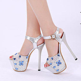 Wholesale Silver Wedge Sandals Crystals - Women Summer Sandals Sexy Crystal Transparent Waterproof Slipper Wedge Heels and High-heeled Sandals Ultrastable Nightclub and Party