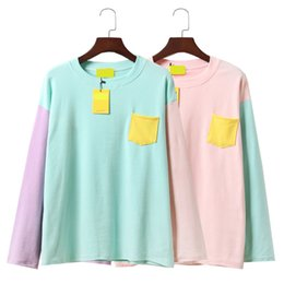 Wholesale Color Institute - Wholesale- 2017 New Spring Cute Women T-shirt Korea Institute Wind Soft Sister Hit Color Patchwork Pocket Loose Long Sleeve T Shirt Female