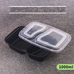 Wholesale food cells - Thicker Two Cells Disposable Lunch Boxes Black Takeaway Boxes Environmental Meal Containers Use Food Box Disposable Dinnerware New 99fk1 R