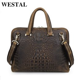 Wholesale Real Leather Mens Bag - WESTAL 14 inch business briefcase laptop bag man genuine leather bags real leather handbags casual mens shoulder bag new brand