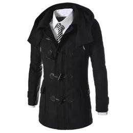 Wholesale Duffle Trench - Wholesale- New Brand Duffle Coat Men 2016 Autumn Winter Fashion Design Wool Blend Trench Jacket Mens Pea Coat Overcoat Coat Men 2XL
