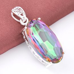 Wholesale Silver Plated Necklace Price - 5 Pcs 1 lot LuckyShine Best Price Oval Dazzling Rainbow Mystic Topaz Crystal 925 Sterling Silver Wedding Pendants Russia American Australia