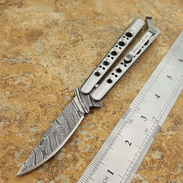Wholesale Hunting Channel - Theone BM31 Butterfly Knife 18CM 440C Damascus Pattern Blade one channel frame Stainess Steel Handle pocket knife