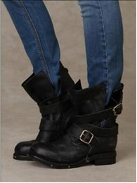 Wholesale Wedge Studded - Fashion Free Shipping Jeffrey Campbell Brit Wrap Strap Booties Genuine Leather Vintage Motorcycle Boots Flat Heel Studded Women shoes
