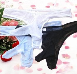 Wholesale Invisible Penis - Men's G-Strings T Pants Thong Sexy T-back Underwear Transparent Penis Sleeve Erotic Lingerie Adult Sex Temptation Tanga G-Strings