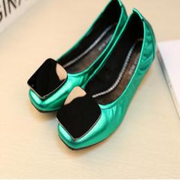 Wholesale Dance Shoes 41 - Enamel Metal Buckle Flat Heel Ballet Flats Candy Color Slip On Dance Flats Women Sheepskin Genuine Leather Shoes Sz 35-41