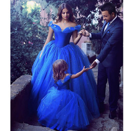 Wholesale Shinny Beads - Cinderella Royal Blue Prom Dresses 2017 Ball Gowns Off The Shoulder with Shinny Crystals Bead Butterflies Evening Gowns Pageant Dress Cheap