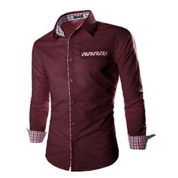 Colori camicie formali da uomo online-All'ingrosso- 2016 uomo formale camicie affari casual solido reticolo maniche lunghe camicie a maniche camisa masculina camicie casual S-XXL 6 colori