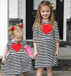 princess shaped dresses Promo Codes - 2 Color Girl INS stripe heart-shaped Princess Dress New Children cartoon ins letters Long sleeve dresses kids clothes B001