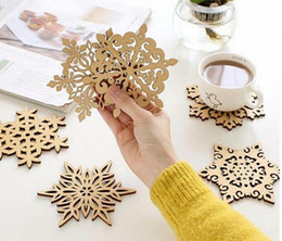 Wholesale Wooden Snowflakes - Wooden Snowflake Mug Coasters Holder Chic Drinks Coffee Tea Mats Drinking Cup Mat Decor Pads Household Dining Table Accessories Kitchen,
