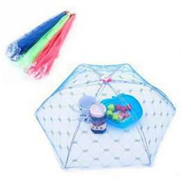 Wholesale Table Food Cover - Umbrella Food Covers Hexagon Gauze Anti Fly Mosquito Kitchen Cooking Tools Meal Cover Table Mesh Lace Food Cover 1000pcs OOA1932