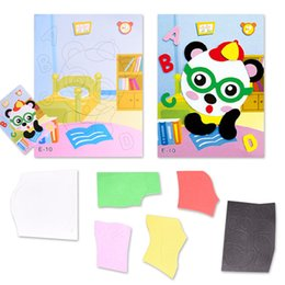 Wholesale Eva 3d Foam Stickers - Wholesale- Handmade Learning Toy 3D DIY Self- adhesive EVA Foam Sticker Cartoon Animal Panda Puzzle Baby Leaning Educational Kids Toys Xmas