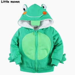 Wholesale Girls Frogs Clothing - Wholesale- Little maven 2016 winter boys girls brand clothes children warm napping Hoodies & Sweatshirts Cotton frog fleece coat WY003