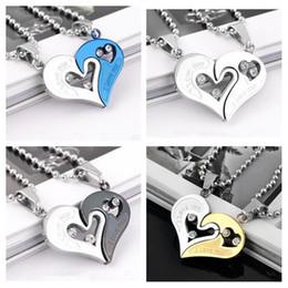 Wholesale heart shape diamond pendant - Couple I Love You Heart Shape Lover Titanium Steel Pendant Necklace Chain Jewelry Gift diamond pendant gift couple pendant Korean jewelry