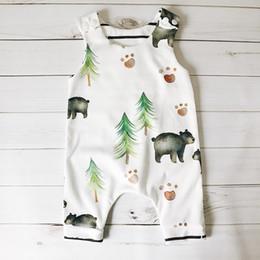 Wholesale V Bearings - 2017 European style sleeveless kids little bear trees print jumpsuit newborn soft cotton climb rompers