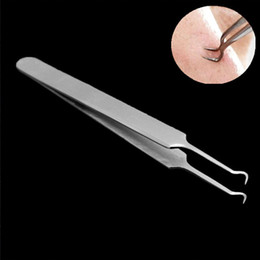 Wholesale Face Tweezers - 1Pcs Stainless Steel Bend Blackhead Remover Needle Tweezers Comedone Acne Spot Pimple Extractor Tool Removal Face Skin Care Tools