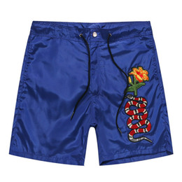 Wholesale Mens Beach Shorts Fashion - Free Shipping 2017 New Summer Arrival Fashion Embroidery Dish Snake Flower Printed Pants Beach Short Pants Mens Casual Loose Pans Hot Sale
