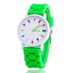 Wholesale Geneva Watches Red - Luxury Geneva Silicone Watch Cute Pop Pills Hollow Needle Watch For Women Quartz Watches Mens watches
