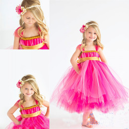 make girls tutu skirts Coupons - 2019 Children's Clothes Gold + Fuschia Tutu Skirt 0-12 Years Old Sweet Flower Girls Dress For Wedding Party
