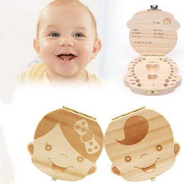Wholesale Cute Beautiful Images - Girl or Boy Image Baby Milk Tooth Collection Memorial Box Cute and Beautiful Wooden Box