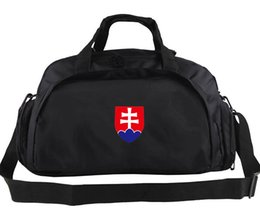 Wholesale Slovakia duffel bag Fans spectator tote Team emblem logo backpack Football luggage Sport shoulder case Outdoor sling handbag
