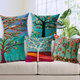 Wholesale Cm Hospital - Flower Tree Cushion Covers linen cotton Floral Birds Spring Pillow Case Home Car Sofa Chair Decoration 45 cm * 45 cm