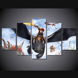 Wholesale Kids Animal Canvas Art - 5Pcs Set Framed HD Printed How To Train Your Dragon Kid Room Wall Art Canvas Print Poster Canvas Pictures Painting
