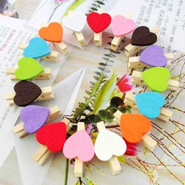 Wholesale Heart Paper Clips - Love multicolour folder wedding small wooden clip mini wooden clip 10 color Heart Shape Wooden Paper Note Memo Clip