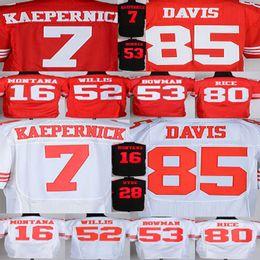 Wholesale Baseball Joe - Hot Sale 2017 New 7 Colin Kaepernick 16 Joe Montana Jersey 28 Carlos Hyde Jersey 35 Eric Reid 53 NaVorro Bowman 80 Jerry Rice Jersey