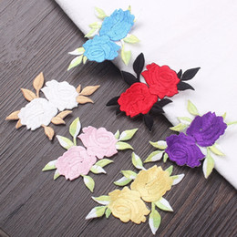 Wholesale Wedding Dresses For Sale Wholesale - Sale 8x5.5cm Flowers Rose Applique Embroidered Patches Iron on Sticker Patch For Clothing Jacket DIY Wedding Dress DIY Sewing Accessories