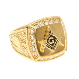 Wholesale mason rings men - Mens Rhinestone Mason Ring Freemasonry College Style Stainless Steel Gold Plated Hiphop Men's Masonic Rings Size 7-15 Men Jewelry Big Size