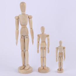 Wholesale mannequin male - 2017 Artist Movable Limbs Male Wooden Toy Figure Model Mannequin bjd Art Sketch Draw Action Figures Toy 5.5-8 inch XT