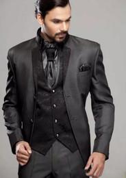 Wholesale Wedding Party Suit Vest - New custom black Groom Tuxedos men's wedding suits party suit (Jacket+Pants+Tie+Vest)