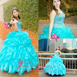 Wholesale Cheap Floral Prom Dresses - 2016 Blue Quinceanera Dresses Floral Beaded Sweetheart Princess Ball Gown Sweet 16 Organza Pleated Princess Prom Dress Evening Gowns Cheap