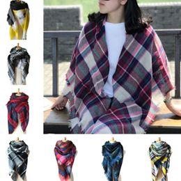 Wholesale Triangle Cashmere Scarves - Cashmere imitation Plaid Scarves Pashminas Wraps with Tassel Triangle Grid Shawl Tartan Scarf Winter Neckearmer Lattice Blankets women kids