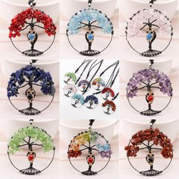 Wholesale Rainbow Crystal Gemstone - Tree Of Life Crystal Stone Owl Pendant Necklace Sweater Chain Rainbow Crystal Necklace Gemstone Chakra Jewelry Mothers Day Gifts C186S