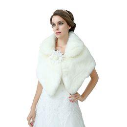 Wholesale Ivory Fur Shawl Girl - 2018 NEW Ivory Faux Fur Wedding Bridal Women Girl Shawl Wrap Shrug Bolero Accessories Bride Coat Jacket