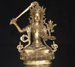 Wholesale Vintage Flocked Ornaments - Rare Vintage China Tibet Culture HandMade Brass Statue Manjushri Buddha