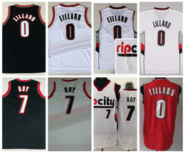 Wholesale Basketball Jersey Material - RipCity 0 Damian Lillard Jersey Men 7 Brandon Roy Basketball Jerseys Shirt Rip City Uniforms Rev 30 New Material Retro Red White Black