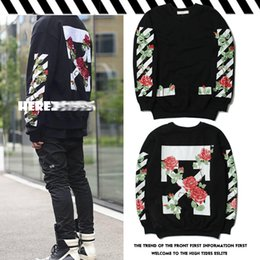 Wholesale White Rose Sweater - OFF WHITE Sweatshirt ARROWS TULIPS Printed Rose Floral Print Sweater Men and Women Couple Coat Sweater Women Fleece OW Hoodies New Streetwea