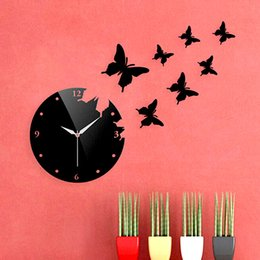 Wholesale Fly Clock - Stylish Butterfly Flying Clock Removable DIY Acrylic Mirror Decal Decorative Wall Clock Sticker Home Decoration