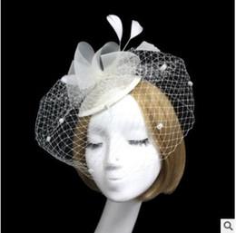 Voiles à tête noire en Ligne-Voile de mariée marié chapeau floral coiffe fête de noces fête défilé stade fleur blanche gaze noire plume couvert visage tête ornements