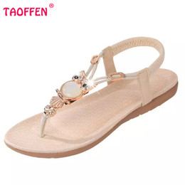 Wholesale Wholesale Cotton Clip Ties - Wholesale-bohemian beaded women flat sandals clip toe brand quality sexy sandals fashion ladies shoes size 36-42 WA0062