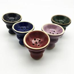 Wholesale Hookah Ceramic Bowl - Babilon Narguile chicha cachimbo Primary colors deep holes Shisha Bowl Hookah in smoking pipe Ceramic bowl 5 holder