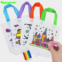 Wholesale Giraffe Draw - Wholesale- Happyxuan 5pcs pack Non-woven DIY Painted Blank White handbag Giraffe Tree Boat Child Graffiti Art Material Gift Bag Drawing Toy