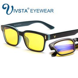 Wholesale Computer Radiation Glasses - IVSTA Anti Blue Ray Computer Glasses Gaming Eye Strain Relief Eyewear Men Anti Glare radiation UV400 yellow lenses frame 8084 Custom logo