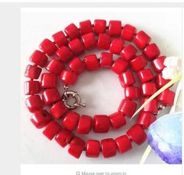 Wholesale Charming Red Coral Necklace - Fashion real Natural Bead GEMS STONE Beautiful! Charming! Natural Red Sea Coral Necklace