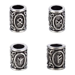 Wholesale Christmas Beards - 10Pcs a lot Runes Viking Beads Metal Charm for Making Small Floating Czech Fit Pandora Charms for Bracelets DIY Beads for Beard or Hair
