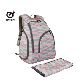 Wholesale Diaper Bag For Fashion Mummy - Wholesale- ECOSUSI 2016 Mummy Diaper Changing Backpack Bags Nappy Backpack For Travel Multi-functional Backpack Bags For Baby Clothe Nappy